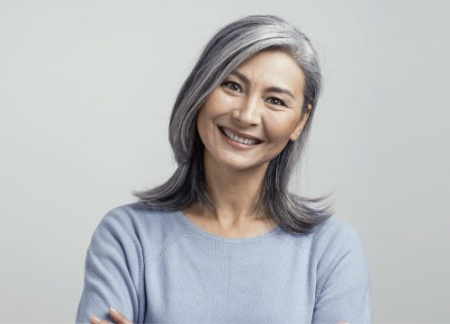 Older woman with minimal facial wrinkles